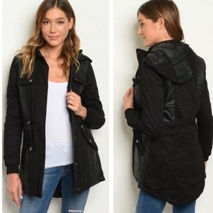 Black hooded Quilted Utility Jacket